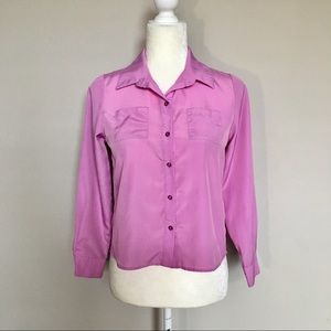 Disney D Signed Large Sheer Pink Button Up Blouse